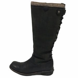 UGG LEATHER SUEDE BLACK BOOTS